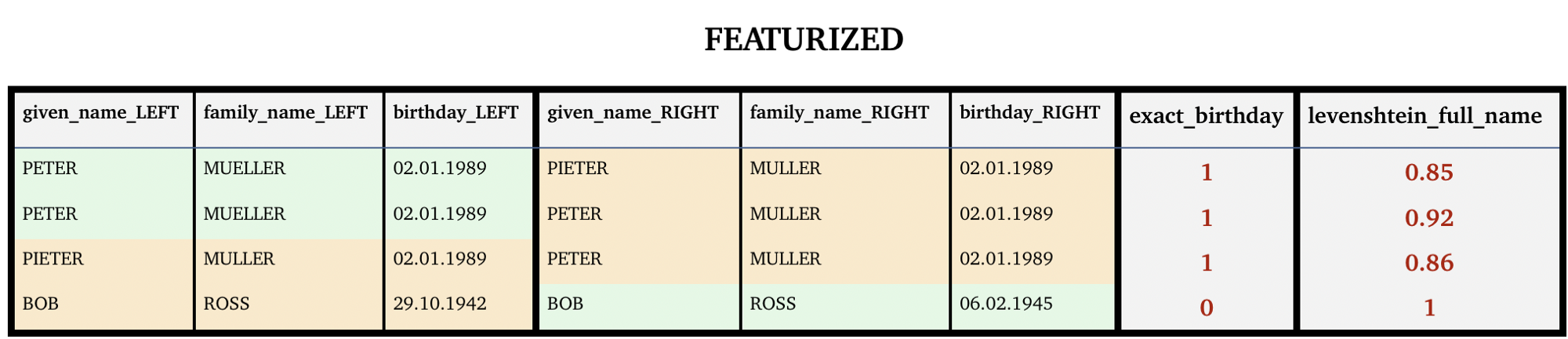 Featurization provides more accurate metrics for record similarities