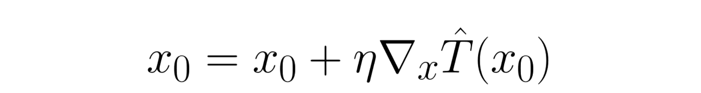 Equation (1): The equation that describes one optimization step. x0 is the image, T̂ is the thickness prediction model, and η is the amount by which we alter the image (step size).